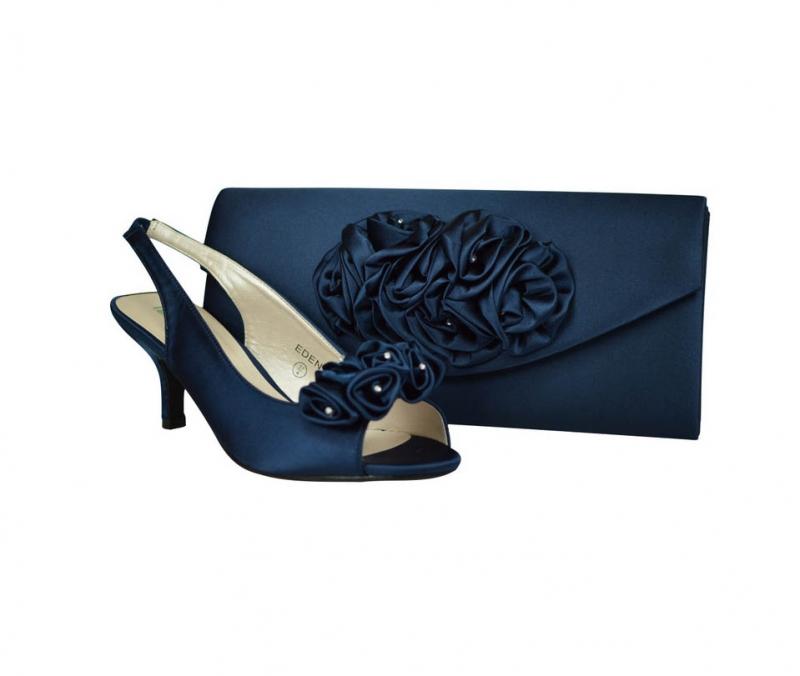 Eden Navy Blue Satin Wedding Low Heel Shoes U0026 Matcing Bag