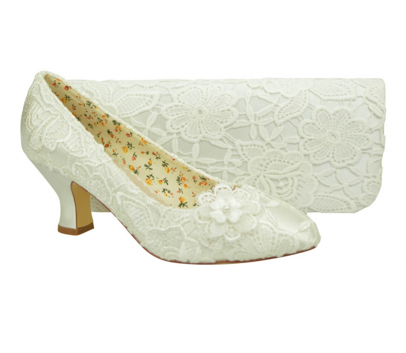 09a4b6cda7ea Ivory Lace with Flower Detail Mid Heel Bridal Court   Bag