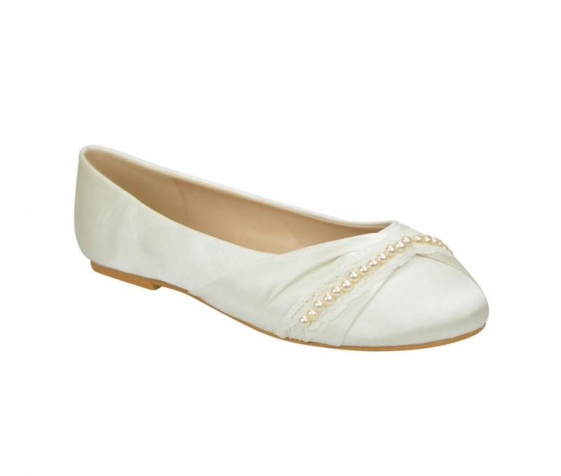 8e920a15523 Ivory pearl bridal bridemaid occasion flat ballerina pumps