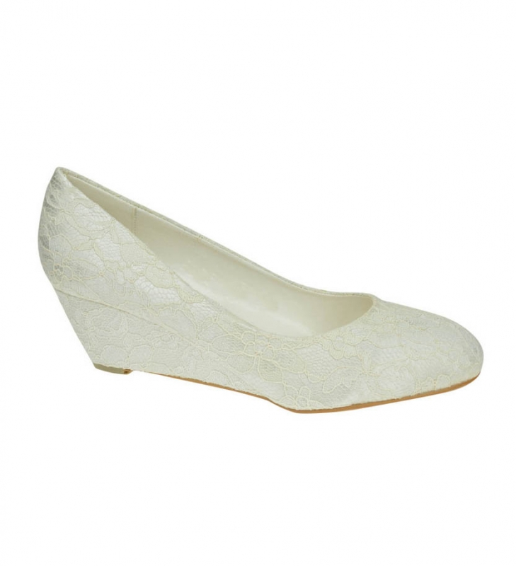 Ivory Satin U0026 Lace Low Wedge Heel Bridal Bridesmaid Shoes
