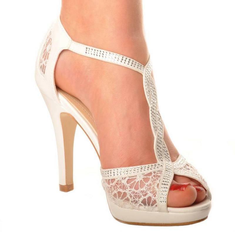 251e66ef813 Ivory Satin   Lace T Bar Wedding Bridal Mid Heel Sandals