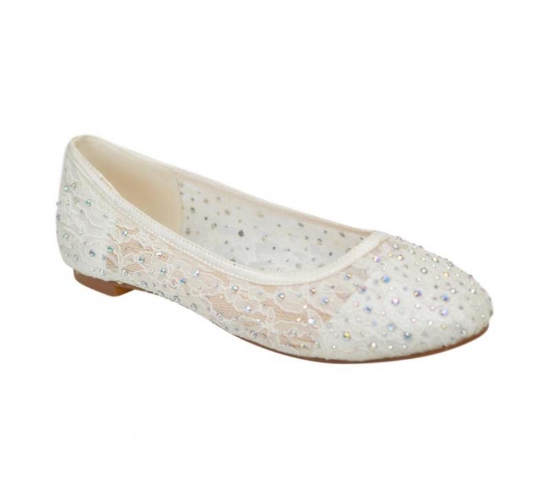 Ivory Lace Wedding Bridesmaid Prom Flat Ballerina Shoes