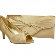 377bfb70c6248 Champagne Wedding Evening Party Court Low Heel Shoes & Bag. £22.50. EVA Navy  Blue Satin & Lace ...