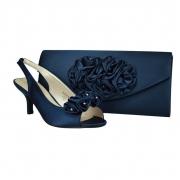 53ac22a62cb2 Eden Navy Blue Satin Wedding Low Heel Shoes   Matching Bag