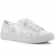 d38c477a825d Ivory Lace Bridal Wedding Prom Sneakers Pump Trainers